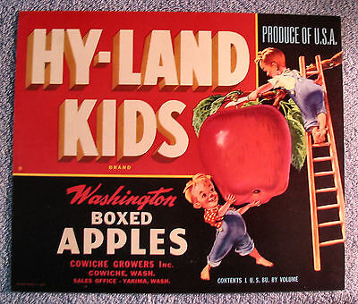 Hy-land Kids Apples Label Custom Framed Sign Grocery Orchard Country Store Merchandise & Memorabilia