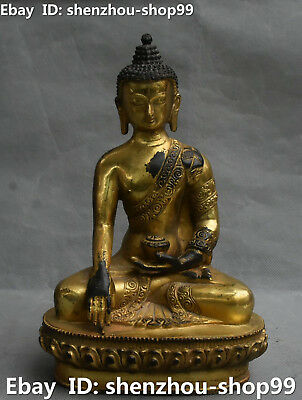 "9"" China Bronze Gilt Sit Eyes Closed Shakyamuni Sakyamuni Amitabha Buddha Statue"