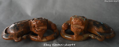 Chinese Old Jade Handwork Carving Bixie Pixiu Brave Troops Beast Animal Pair