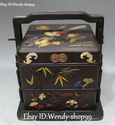 Unique Ebony Wood Inlay Shell Bamboo Lotus Flower Bat Parrot Coin Food Box Case