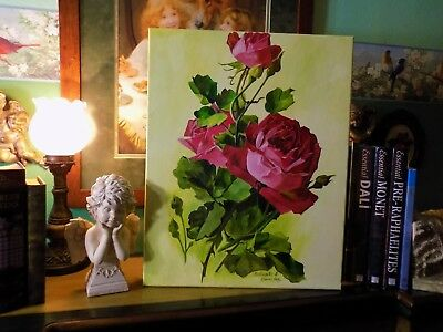 Vintage/Victorian Inspired Red Cabbage/Cottage Roses Oil Art ~ Shabby