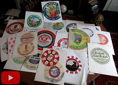 French cheese label collection 1950-70's lot x 33 on crepe tissue wax papers