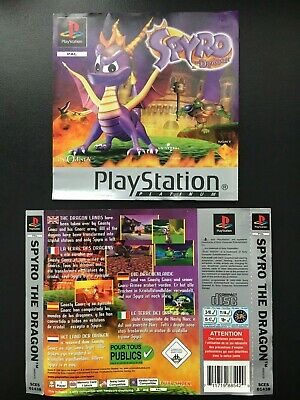 Spyro The Dragon - ORIGINAL SONY PLAYSTATION 1 PS1 FRONT & BACK CASE COVERS
