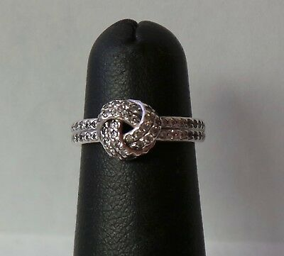 165ce6f2f Authentic Pandora Sterling Silver Sparkling Love Knot Ring 190997CZ-48 Sz  4.5