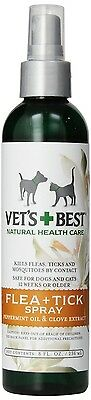 Vet's Best Natural Flea and Tick Spray, 8-Ounce For Dogs & Cats Rare