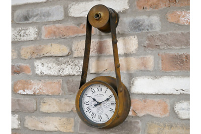 Wall Clock Time Analogue Industrial Rustic Metal Wall Mounted  Roman Numeral New