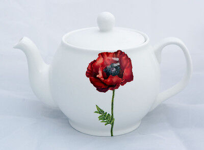 Delightful Fine Bone China Poppy 2 Cup Teapot