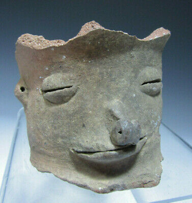 Pre Columbian Taino Pottery Face Fragment from a Large Olla ca. 1200-1500 AD