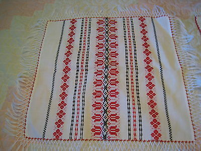 2 pc Vintage Table Cloth Runner Embroidery Fringe Red White Black New