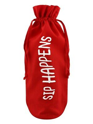 Bottle Bag Sip Happens Cotton Drawstring Red 17x37cm