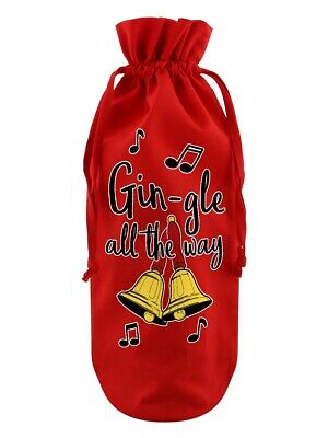 Bottle Bag Gin-gle All The Way Cotton Drawstring Red 17x37cm