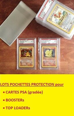 ★★ LOT POCHETTES de PROTECTION PSA PCA TOP LOADER BOOSTER POKEMON 10 20 50 100