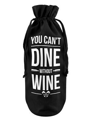 Bottle Bag You Can't Dine Without Wine Cotton Drawstring Black 17x37cm
