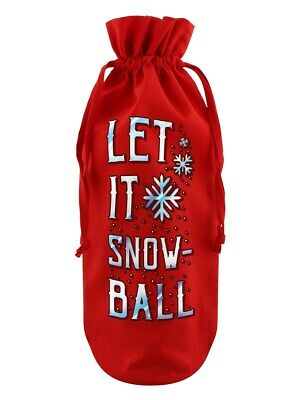 Bottle Bag Let It Snow-Ball Cotton Drawstring Red 17x37cm