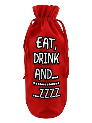 Bottle Bag Eat, Drink And....Zzzzzz Cotton Drawstring Red 17x37cm