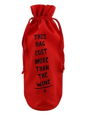 Bottle Bag This Bag Cost More Than The Wine Cotton Drawstring Red 17x37cm
