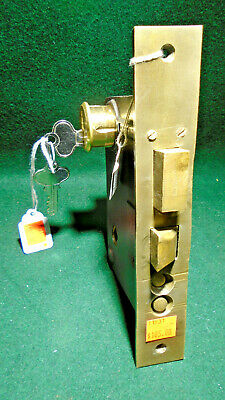 "RARE 1890's CLINTON LOCK CO ENTRY LOCK w/CYLINDER & KEY 8 1/8"" FACE NICE (11831)"