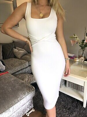 32ef296833 Oh Polly Uk10 White Bodycon Midi Dress With Wrap Worn Once Sold Out Online