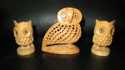 Unique Hand Carved Wood Owls Inside Babies Figure Candlestick Mid Century Modern