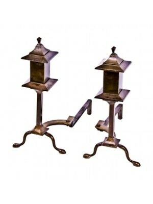 Wrought Yellow Brass Arts & Crafts Or Mission Style Fireplace Andirons