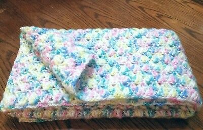 Thick fluffy , handmade crocheted 32inx36in acrylic unisex baby afghan