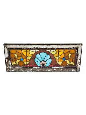 Victorian Era Stained Glass Transom Window With Three Jewels And Pine Wood