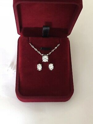 Lab Diamond Solitaire Necklace & Studs Earrings Set 1 Ct 14K White Gold Plated