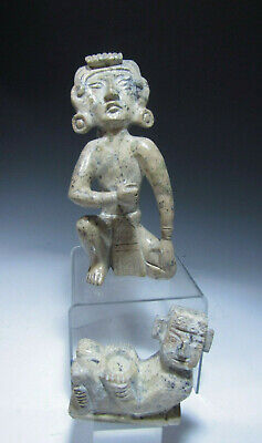 Lot of 2 Pre Columbian Mexico Stone Teotihuacan STYLE Figures ca. 20th century