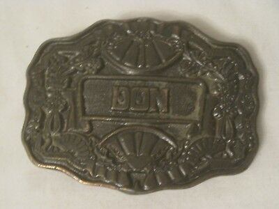 """vintage Oden belt buckle """" DON """" personalized personal name ornate Brass metal"""