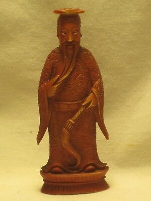 intricately carved small Asian figure Oriental old man w/ broom statue red bone?