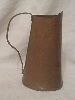 vintage small hammered copper pitcher handled pour container metal antique