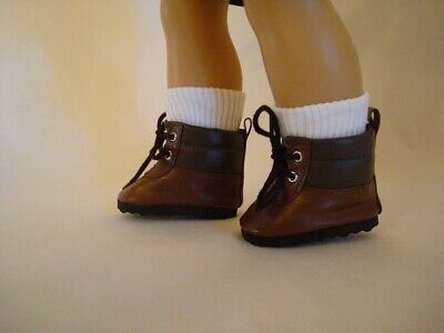 "Doll Shoes Vintage Brown Leather Shoes Boots Fit 18/"" American Girl Accessories"