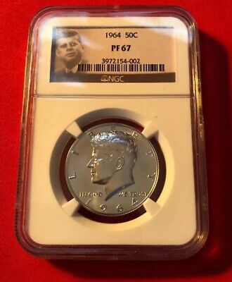 1964 Us Kennedy Silver Half Dollar Proof 50C~Ngc Pf67 With Jfk Label