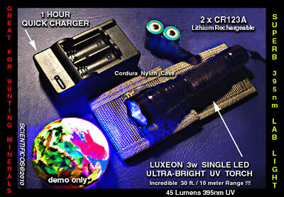 Ultrafire 3w ULTRAVIOLET LED Mineral & Medical Light w/2xCR123A + charger + Case