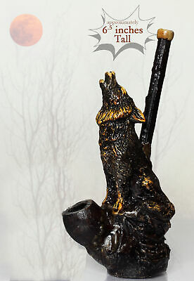 Howling Wolf Hand Crafted Figurine Smoking Pipe Tobacco Pot herb