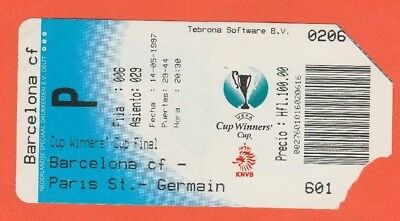Orig.Ticket  Cup Winners Cup 1996/97  FINAL  FC BARCELONA - PARIS St.GERMAIN  !!