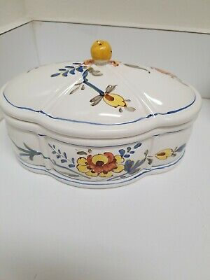 Hand Painted Covered Dish With  Flowers with Bands in blue & yellows, Italy