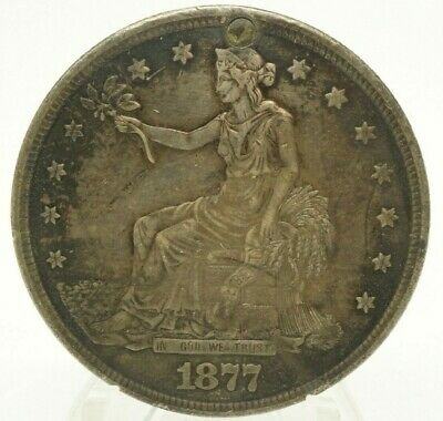 1877 S Trade Dollar Nice Detail XF+ Plugged / Great Coin See Photos!