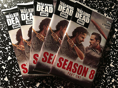 2018 Topps The Walking Dead Season 8 part ONE unopened packs lot of 5