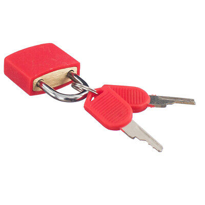 Travel Small Padlock Lock with Two Keys for Luggage Suitcase Bag Bright Red