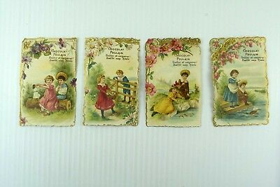 1880's-90's Victorian Die-Cut Lot Of 4 Chocolat Poulain Children At Play PD408