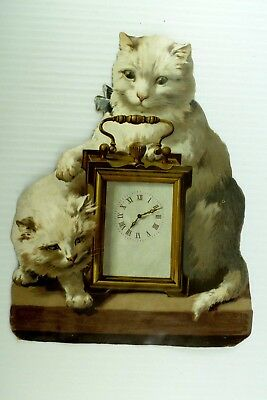 1880's-90's Large Victorian Die-Cut White Fluffy Cats Mantle Clock *T