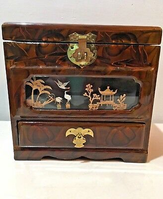 Vintage Wooden Lacquer Chinese Jewelry Box Music Box