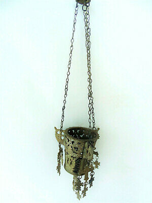 Ancient Antique Hanging bronze Orthodox Lamp Byzantine with 15 small crosses