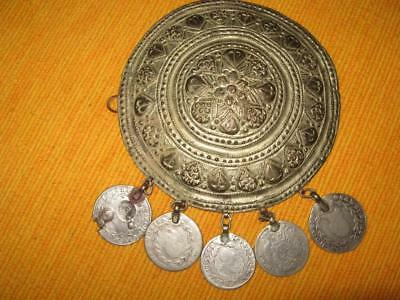 Antique Old Authentic Ottoman Hat Decoration 19Th Century Silver Coins