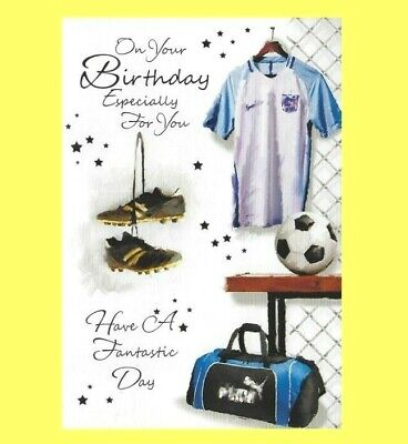 Open Mens Birthday Card Traditional Football Boots Strip Kit  Male Gentlemen