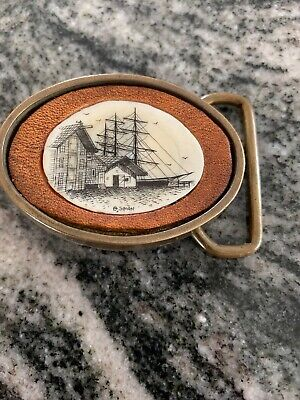 Sailing Ship Port Belt Buckle Vintage Solid Brass 1978 Bts Excellent Condition.