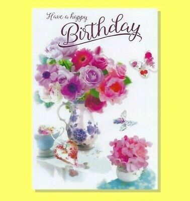 Open Female Birthday Card Traditional Flowers Floral Roses Ladies Simon Elvin