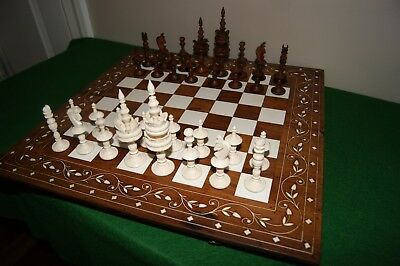"German Selenus mid 20th century chess set, vintage, bone Large 4 3/4"" King"