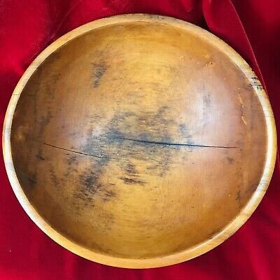 "Large Antique Primitive Wood Dough Bowl 15"" Beautiful Patina"